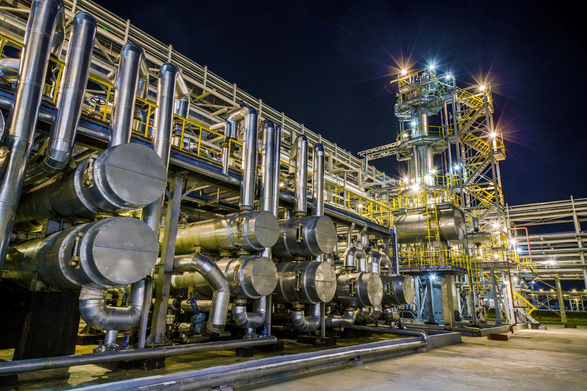 Oil and Gas Refinery at Night (Reduced File Size)